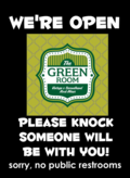 Green room open sign