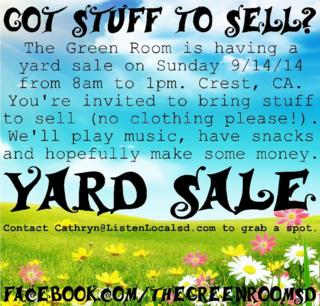 Yard sale 9 14 14