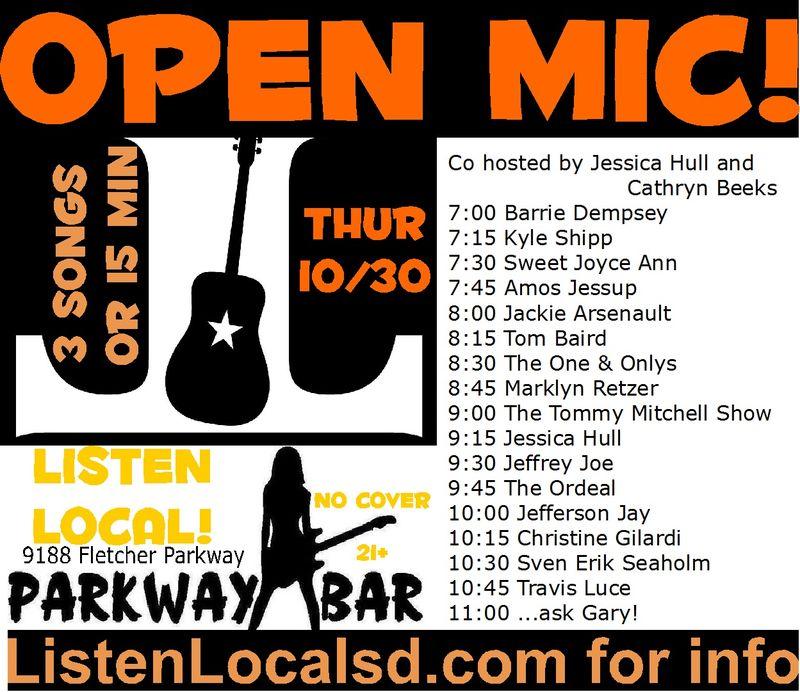 Parkway open mic 10 30